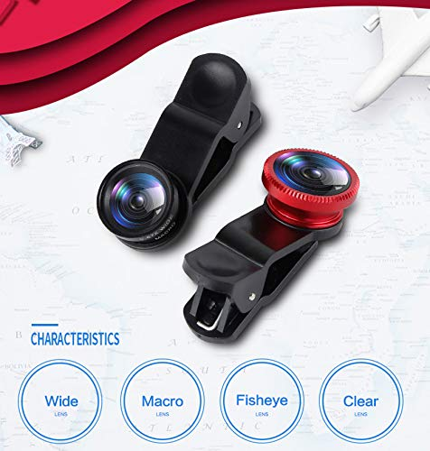 Bigmai 3 in 1 Phone Lens Kit - Macro Lens,Wide Angle Lens,Fisheye, Clip-On Cell Phone Camera Lenses for iPhone Android Samsung Mobile Phones and Tablets (red)