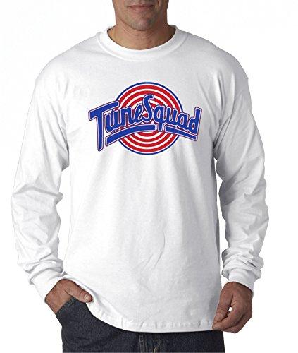 New Way 487 - Unisex Long-Sleeve T-Shirt Tune Squad Space Jam Basketball Team Large White