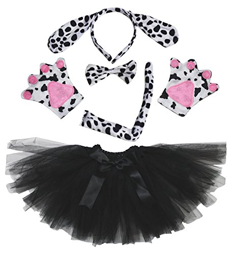 Dalmatians Dog Headband Bowtie Tail Gloves Black Tutu 5pc Girl Costume for Party (Black Dog Costume Ears)
