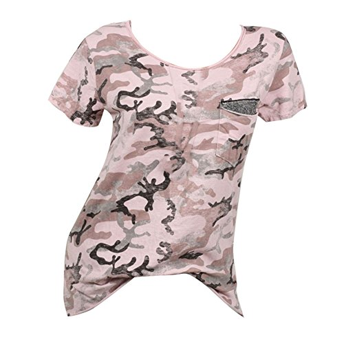 Corta Donna Shirt Paillettes Rosa Yying Size Bianco Top Viola Rosa Militare Estate Plus Camouflage Donna Verde Casual T Manica 1qSF8SYv