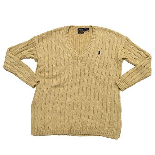 Polo Ralph Lauren Womens Pima Cotton Cable Knit V-Neck Sweater (S, Natural) (Ralph Lauren Pima Cotton Polo Long Sleeve)