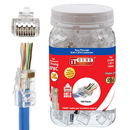 ITBEBE Gold Plated RJ45 CAT6 Bold 100 Pieces End Pass Through Connector for 23 AWG Cables ()