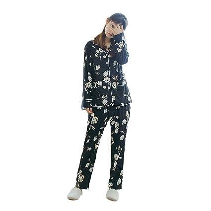 Pijama de algodón de manga larga de otoño e invierno para mujer Pijamas de algodón de