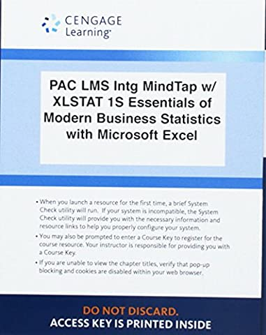 LMS Integrated for MindTap Business Statistics, 1 term (6 months) Printed Access Card for Anderson/Sweeney/Williams' Essentials of Modern Business Statistics with Microsoft Office Excel, (Modern Business Statistics)
