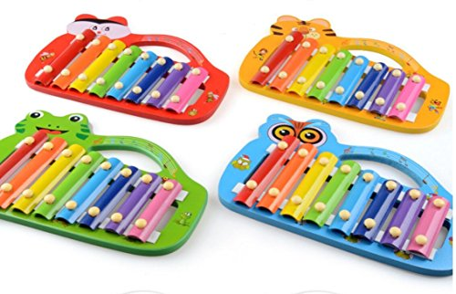 Polymer Musical Toys Frog Shape Wooden Xylophone Piano Wooden Hand Knock Xylophone for Baby Learning Music(Green) by Polymer (Image #2)
