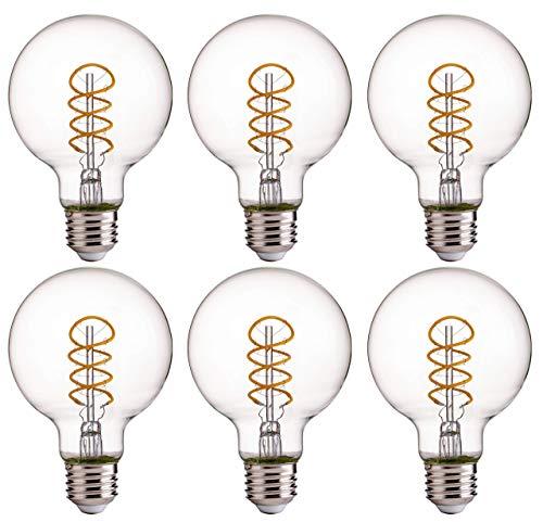 - FLSNT LED Globe Flexible Spiral Filament Edison Light Bulbs,G25,Dimmable,4.5W(40W Equivalent),2700K Soft White,300LM,E26 Base,CRI80,Clear Glass,6 Pack