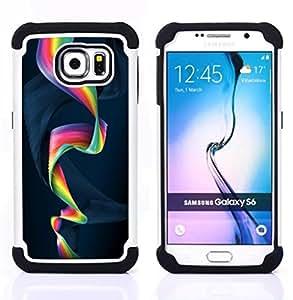 BullDog Case - FOR/Samsung Galaxy S6 G9200 / - / Colorful Spiral /- H??brido Heavy Duty caja del tel??fono protector din??mico - silicona suave