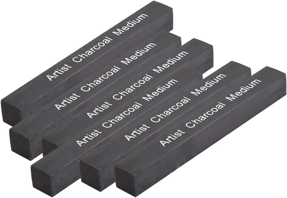 DEALPEAK 6Pcs//Set Black Square Compressed Charcoal Sticks Soft//Medium//Hard Graphite Drawing Pencil Art Supplies