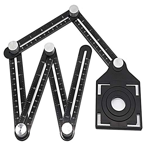 sweet dream Measuring Tool Aluminum Alloy 6-Sided Multi Angle Measuring Ruler for Builders Craftsmen Carpenters Handymen Construction Rulers for Floor Brick Glass
