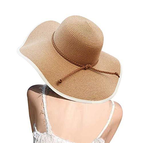 Womens Big Bowknot Straw Hat Floppy Foldable Roll up Beach Cap Sun Hat UPF 50+ (A Khaki 5.9