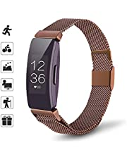 TOMALL Metal Bands Compatible for Fitbit Inspire and Fitbit Inspire HR,Stainless Steel Metal Wristband for Women Men (Small, Coffee)