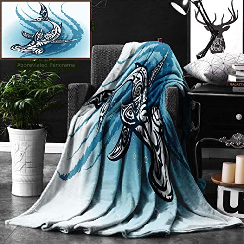 Ralahome Unique Custom Digital Print Flannel Blankets Shark Hammerhead Fish Ornamental Ethnic Effects Swimming Ocean Image Dark Super Soft Blanketry Bed Couch, Throw Blanket 60 x 40 Inches