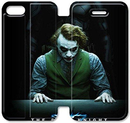 Flip étui en cuir PU Stand pour Coque iPhone 5 5S, bricolage étui de téléphone cellulaire 5 5S The Dark Knight large Je V1B4JJ Coques du mobile