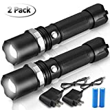 8000 Lumen Rechargeable Led Flashlights High Lumens, Super Bright Zoomable Tactical Flashlight with Battery, Professional Military SWAT Flashlights for Hiking Camping Cycling (2 Pack) by MOCCO