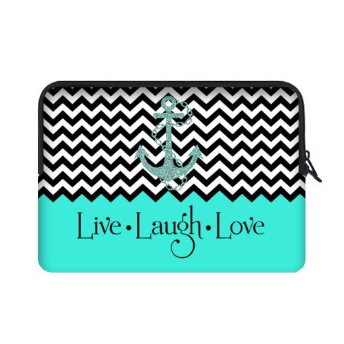WECE Hipster Quotes Live Love Laugh in Turquoise Colorblock Chevron with Anchor 15.6 Inch Laptop/Notebook Computer Sleeve Bag Case for Macbook, Macbook Air/Pro 15.6