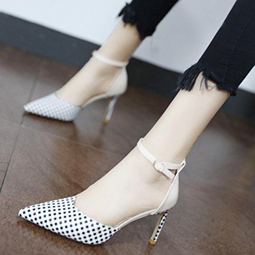 Xue Qiqi Court Schuhe Stilvolle konischen Seiten leer high-heel Schuhe Schuhe Schuhe fein mit wilden Licht - Geschlitzte binden einzelne Schuhe Frauen 57df13