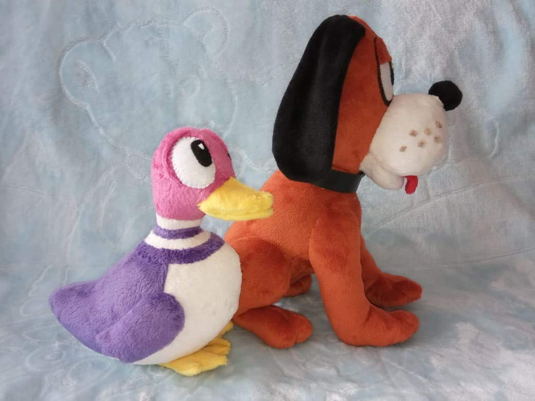 Custom plushies inspired by Duck Hunt game made to order a set of 2 toys a dog and a duck made to order 30 cm minky