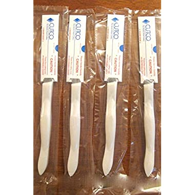 CUTCO #1865 set of 4 White (Pearl) Model 1759 Table Knives, each in a factory-sealed plastic bag, inside attractive blue CUTCO gift box..............3.8  Double-D® serrated 440A High-Carbon, Stainless Steel blades and 5  handles.