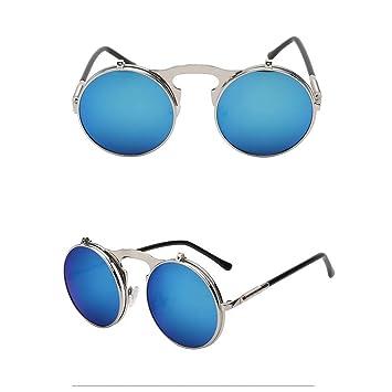 SYQA Gafas de Sol Flip Up para Hombre, Redondas, Gafas de ...