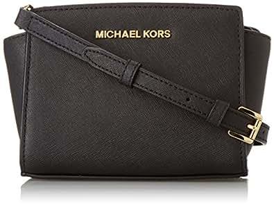 Michael Kors Selma Mini Messenger, Bolso Bandolera para Mujer, Negro (Black), 14x7x20 cm (W x H x L)