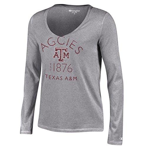 Champion NCAA Women's University Long Sleeve V-Neck Gray Tee, Oxford Heather, X-Small ()