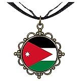 GiftJewelryShop Bronze Retro Style Jordan flag Round Flower Pendant Charm Necklaces