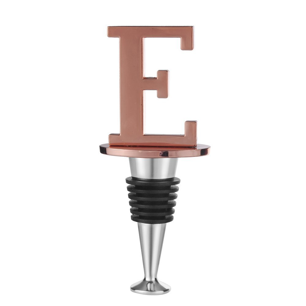 Wine and Beverage Bottle Stopper With Rose Gold Finish, E-Initial (Letter E)