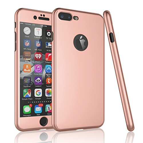 Tekcoo For iPhone 7 Plus Case, [T360 HY] Ultra Thin Full Body Coverage Protection Scratch Proof Hard Slim Hybrid Cover Shell & Tempered Glass Screen Protector For iPhone 7 Plus (5.5 inch) [Rose Gold]