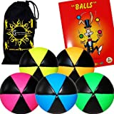 Flames N Games ASTRIX UV Thud Juggling Balls set of 5. Pro 6 Panel Leather Juggling Ball Set + Ball Juggling Booklet of Tricks & Travel Bag! (Mix of colours)