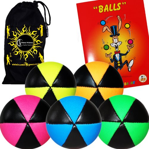 Flames N Games ASTRIX UV Thud Juggling Balls set of 5. Pro 6 Panel Leather Juggling Ball Set + Ball Juggling Booklet of Tricks & Travel Bag! (Mix of colours) by Flames 'N Games Juggling Ball Set