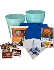 Deluxe Maple Tree Tapping Kit (3) 3 Gal. Sap Buckets + Lids, (3) Taps with Hooks, (2) 1-Quart Sap Syrup Filters, Recipe Cards, Drill Bit + 80 Page Guide to Maple Tapping Book