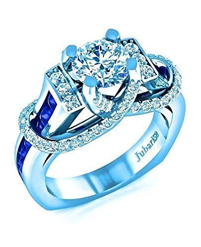 2 Ctw Round Diamond&Blue Sapphire Modern Bridal Engagement Ring Contemporary Custom Euro Shank Channel Micro Pave Designer 14K White ()