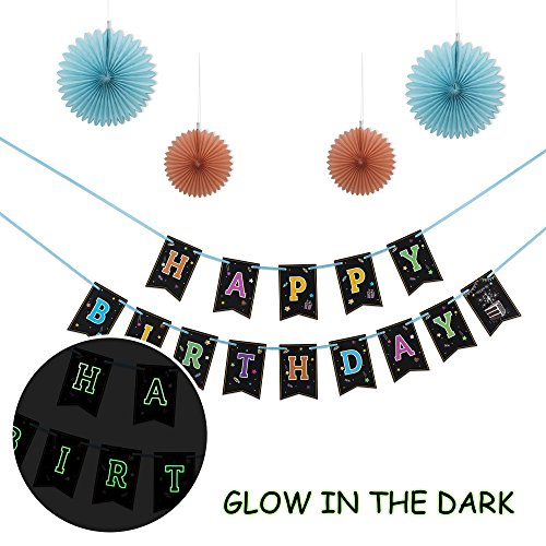 Happy Birthday Banner With 4 Fans ,Glow In The Dark Party Decoration .Happy Birthday Glowing bunting Carnival/Kids Party Supplies Favors Colors Hanging (Glow Parties)
