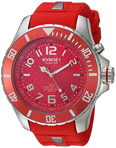 KYBOE! 'Power' Quartz Stainless Steel and Silicone Casual Watch, Color:Red (Model: SC.55-005.15)
