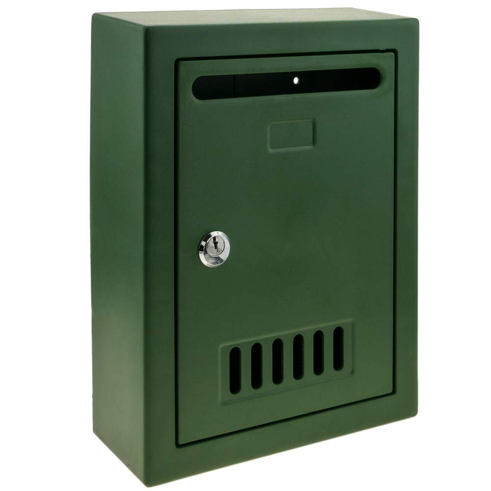 PrimeMatik - Boîte aux Lettres en Plastique coloré Vert pour Mur 205x80x273mm PrimeMatik.com