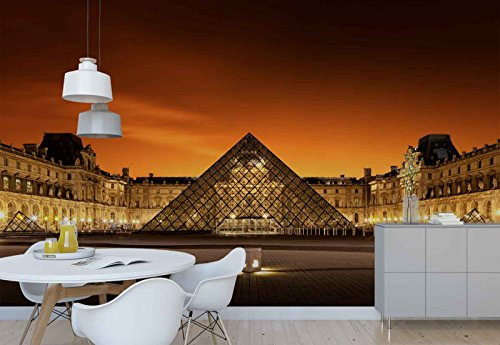 Photo wallpaper wall mural - Louvre Museum Palace Courtyard - Theme Travel & Maps - XL - 12ft x 8ft 4in (WxH) - 4 Pieces - Printed on 130gsm Non-Woven Paper - 1X-321126V8 by Fotowalls Photo Wallpaper Murals