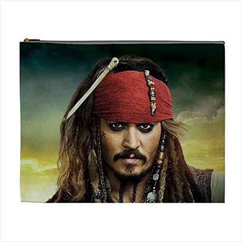 Jack Sparrow Makeup (Pirate Jack Sparrow Cosmetic Bag Pencil Case Multi Purpose Pouch 2 sides)