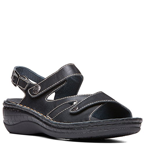 Propet Women's Jocelyn Slingback Sandals, Black Leather, Polyurethane, 9 M Polyurethane Footbed