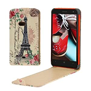 Eiffel Tower Pattern Vertical Flip Leather Case for Nokia Lumia 625