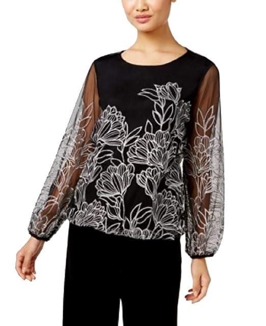 4e78815347cdb Alfani Petite Embroidered Bubble Top at Amazon Women s Clothing store