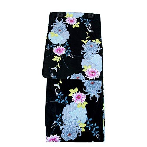 是正でる集まる浴衣 レディース -27- 大きいサイズ 3L 5L 綿100% 黒 水色 菊 花柄