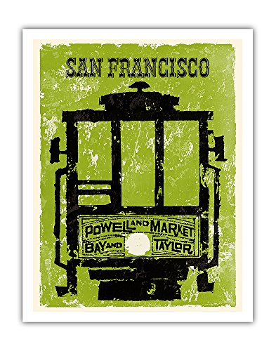 San Francisco - Powell & Market, Bay & Taylor Streets Cable Car Line - Vintage World Travel Poster c.1960 - Fine Art Print - 11in x - Powell Street San Francisco