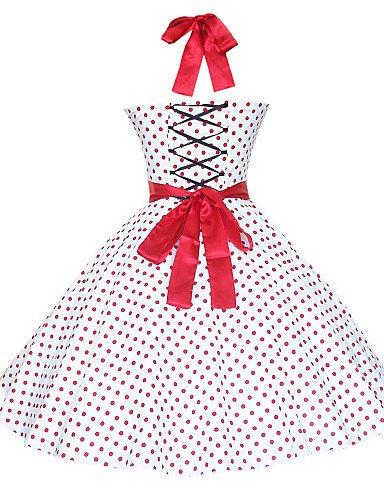 PU&PU Robe Aux femmes Grandes Tailles / Sexy / Vintage / Soirée / Décontracté Mi-long Coton , white-m , white-m