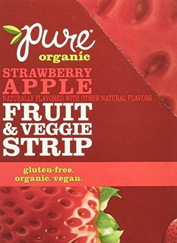 Strawberry Fruit Apple (Pure Organic Strawberry Apple Fruit & Veggie Strip, Certified Organic, Gluten-Free, Non-GMO, Vegan, Kosher, Peanut Free, No Artificial Ingredeints, Fruit Snack, 0.49 ounce, 24 Count)