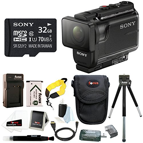 Sony HDR-AS50/B Full HD 1080p Action Cam with 32GB MicroSD Card & Battery Pack Bundle by Focus Camera