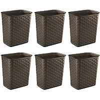 6-Pack Sterilite 3.4-Gallon Weave Wastebasket (Espresso)