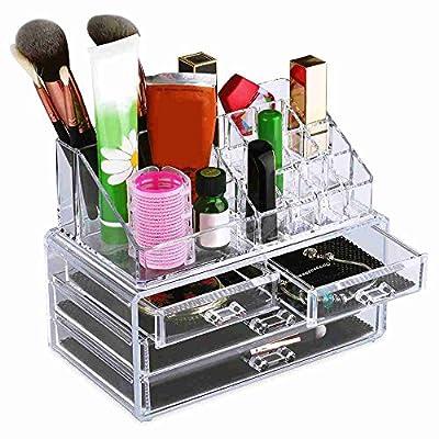 FUNOC 2pcs Acrylic Makeup Organizer Jewelry Cosmetics Storage Display Boxes