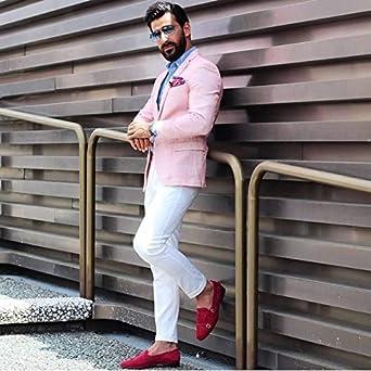 QZI Mens 2 Piece Set Casual Sport Coat Jacket Pink