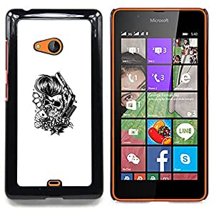 """Qstar Arte & diseño plástico duro Fundas Cover Cubre Hard Case Cover para Nokia Lumia 540 (Engrasador Cráneo - Knuckles y tarjetas"""")"""
