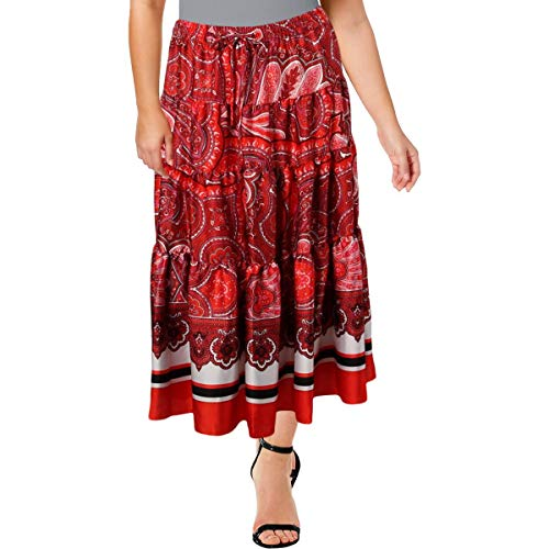 LAUREN RALPH LAUREN Womens Sateen Printed Maxi Skirt Red XL